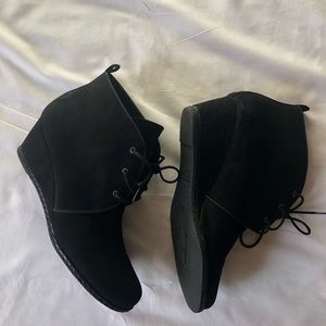Franco Sarto Shoes - Black Faux Suede Ankle Boots